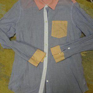 THEORY Womens Pinstripe Cotton Blouse Sz L